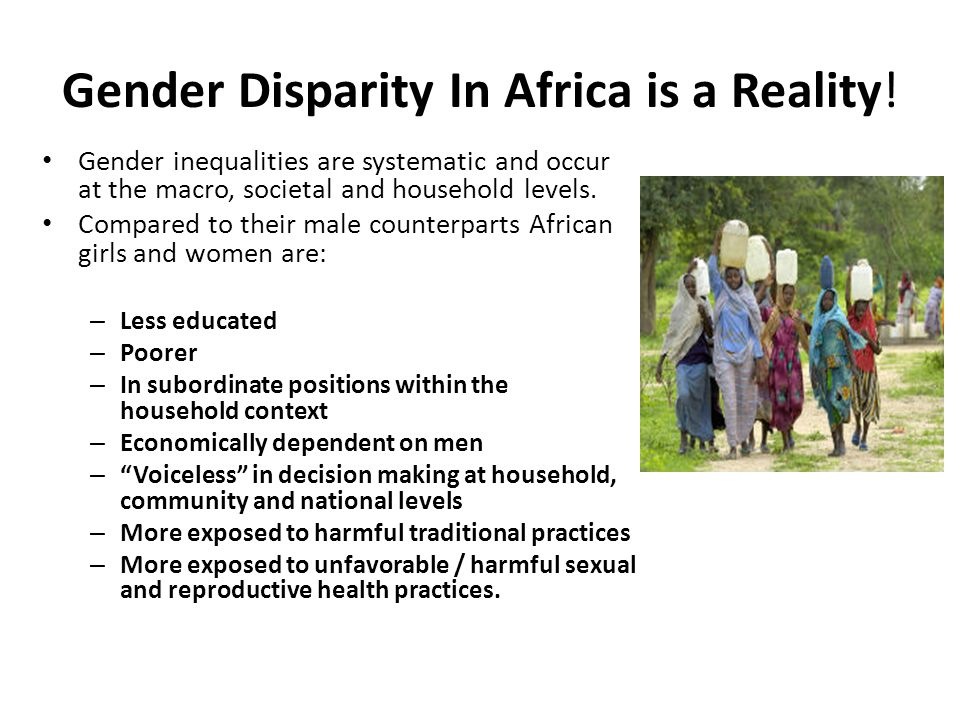 Gender Disparity In Africa is a Reality.