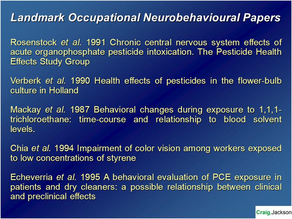 Landmark Occupational Neurobehavioural Papers Rosenstock et al.