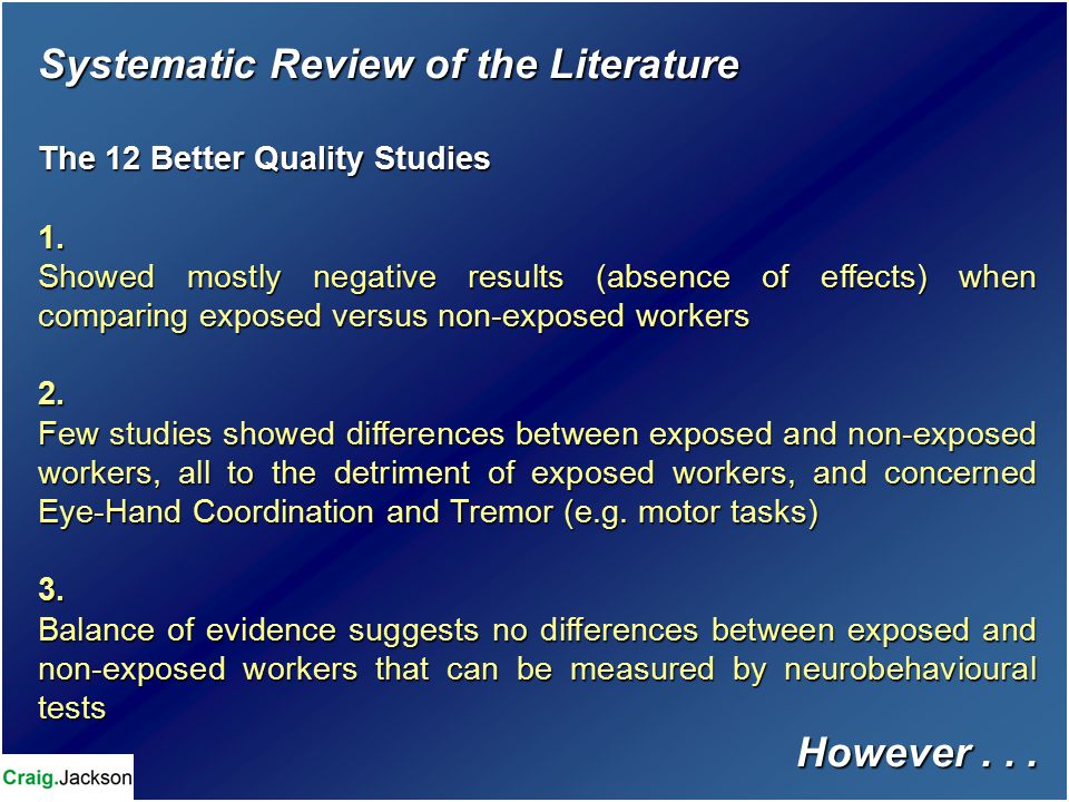 Systematic Review of the Literature The 12 Better Quality Studies 1.