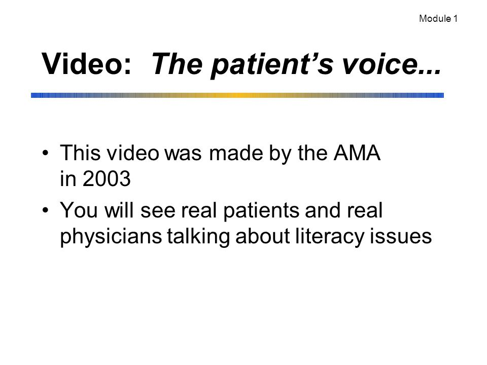 Video: The patient's voice...