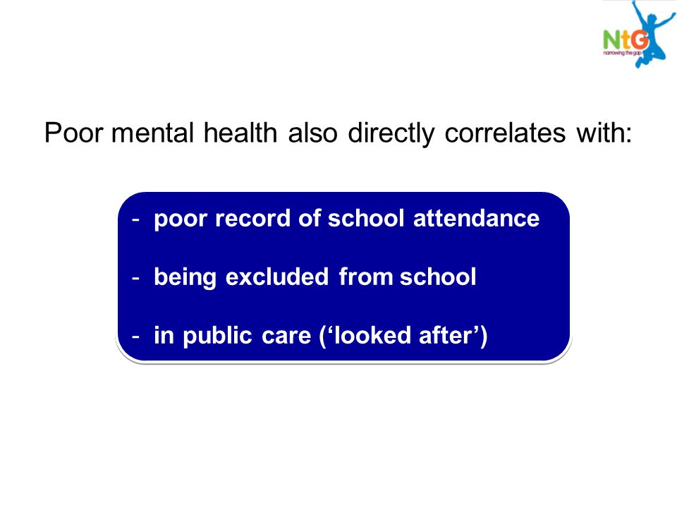 Poor mental health also directly correlates with: - poor record of school attendance - being excluded from school - in public care ('looked after') - poor record of school attendance - being excluded from school - in public care ('looked after')