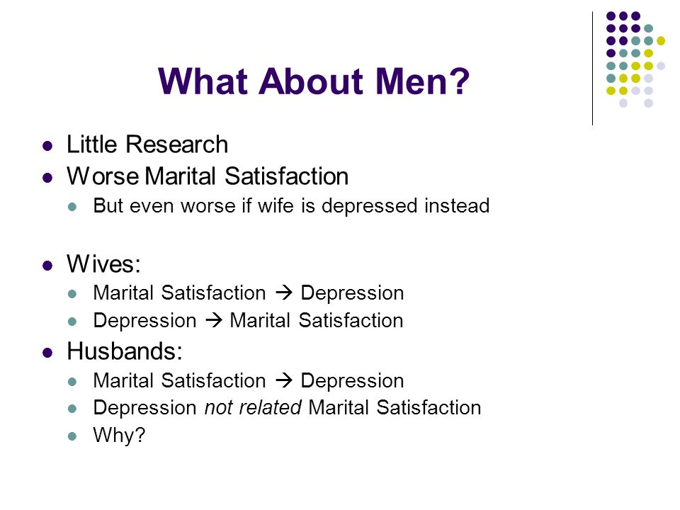 What About Men? Little Research Worse Marital Satisfaction But even worse if wife is depressed instead Wives: Marital Satisfaction  Depression Depres