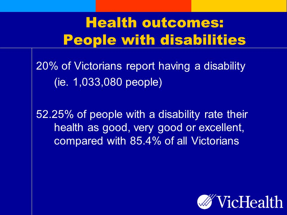 Health outcomes: People with disabilities 20% of Victorians report having a disability (ie.