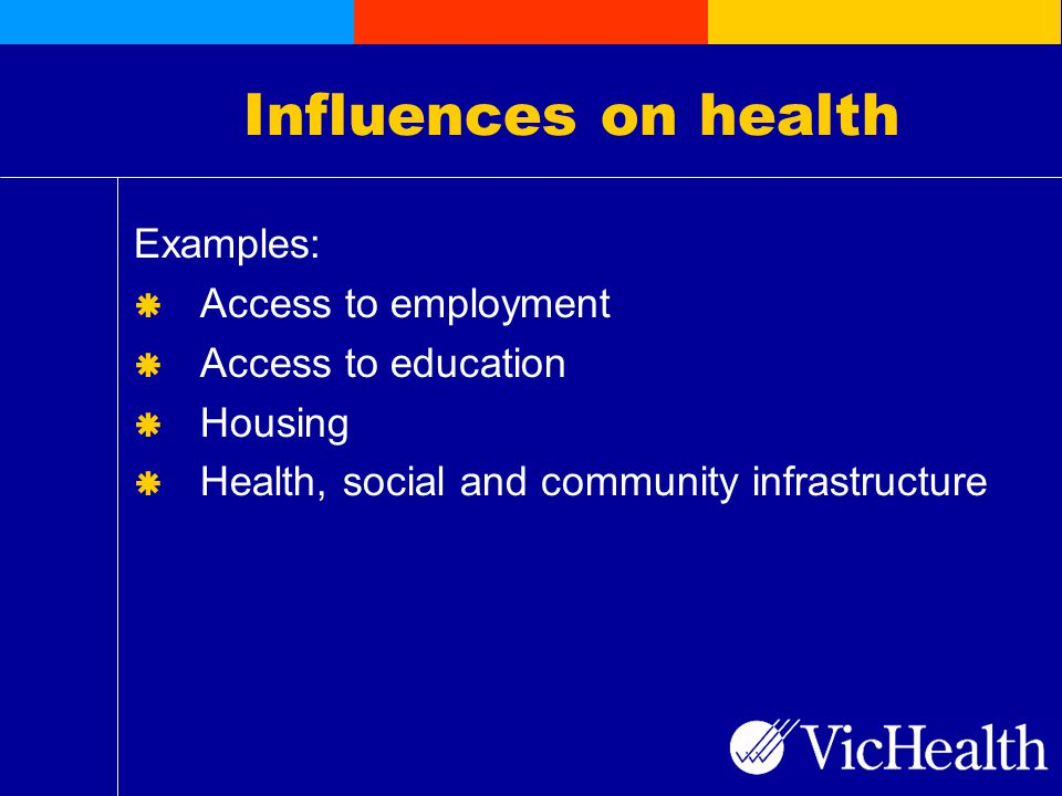 Influences on health Examples:  Access to employment  Access to education  Housing  Health, social and community infrastructure