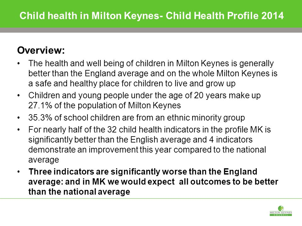 Child health in Milton Keynes- Child Health Profile 2014 Overview: The health and well being of children in Milton Keynes is generally better than the England average and on the whole Milton Keynes is a safe and healthy place for children to live and grow up Children and young people under the age of 20 years make up 27.1% of the population of Milton Keynes 35.3% of school children are from an ethnic minority group For nearly half of the 32 child health indicators in the profile MK is significantly better than the English average and 4 indicators demonstrate an improvement this year compared to the national average Three indicators are significantly worse than the England average: and in MK we would expect all outcomes to be better than the national average