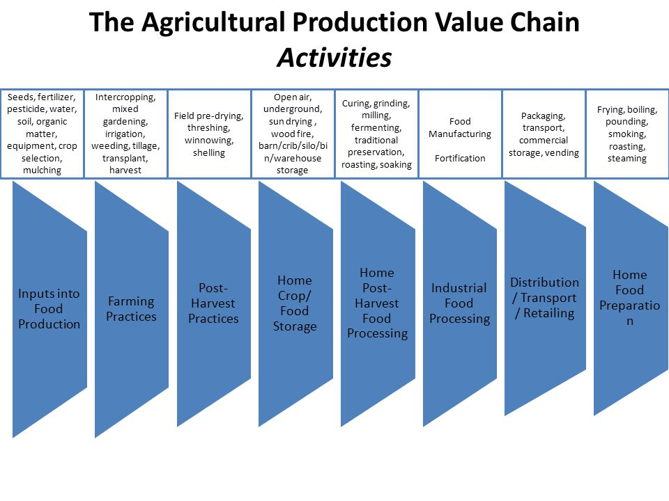 Inputs into Food Production Farming Practices Post- Harvest Practices Home Crop/ Food Storage Home Post- Harvest Food Processing Industrial Food Processing Distribution / Transport / Retailing Home Food Preparatio n The Agricultural Production Value Chain Activities Seeds, fertilizer, pesticide, water, soil, organic matter, equipment, crop selection, mulching Intercropping, mixed gardening, irrigation, weeding, tillage, transplant, harvest Field pre-drying, threshing, winnowing, shelling Open air, underground, sun drying, wood fire, barn/crib/silo/bi n/warehouse storage Curing, grinding, milling, fermenting, traditional preservation, roasting, soaking Food Manufacturing Fortification Packaging, transport, commercial storage, vending Frying, boiling, pounding, smoking, roasting, steaming