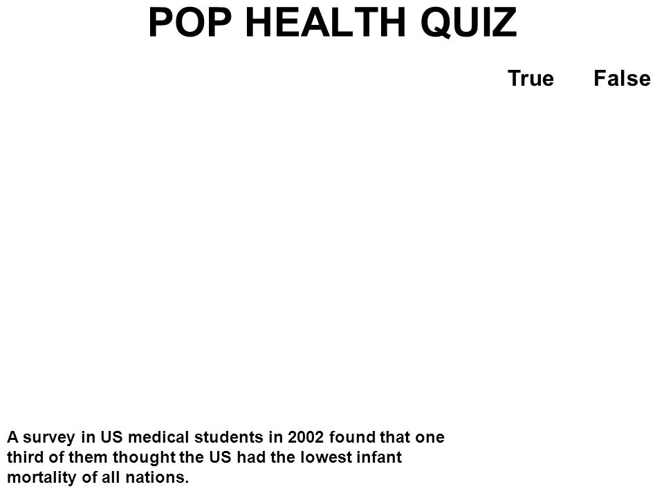 POP HEALTH QUIZ TrueFalse A 15 year old girl in the US a smaller chance of dying before reaching age 60 than a similarly aged girl in Sri Lanka.