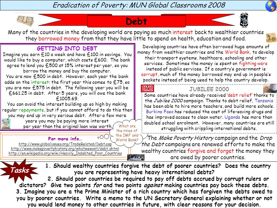 Eradication of Poverty: MUN Global Classrooms 2008 Debt 1.