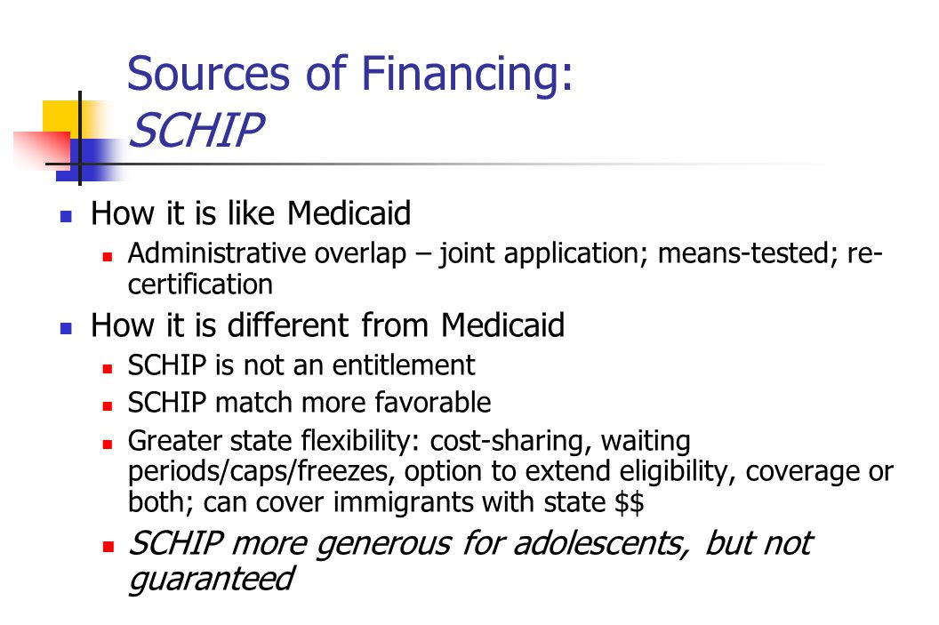 Sources of Financing: SCHIP How it is like Medicaid Administrative overlap – joint application; means-tested; re- certification How it is different from Medicaid SCHIP is not an entitlement SCHIP match more favorable Greater state flexibility: cost-sharing, waiting periods/caps/freezes, option to extend eligibility, coverage or both; can cover immigrants with state $$ SCHIP more generous for adolescents, but not guaranteed
