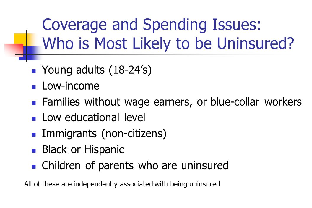 Coverage and Spending Issues: Who is Most Likely to be Uninsured.