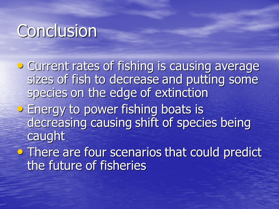 Conclusion Current rates of fishing is causing average sizes of fish to decrease and putting some species on the edge of extinction Current rates of fishing is causing average sizes of fish to decrease and putting some species on the edge of extinction Energy to power fishing boats is decreasing causing shift of species being caught Energy to power fishing boats is decreasing causing shift of species being caught There are four scenarios that could predict the future of fisheries There are four scenarios that could predict the future of fisheries