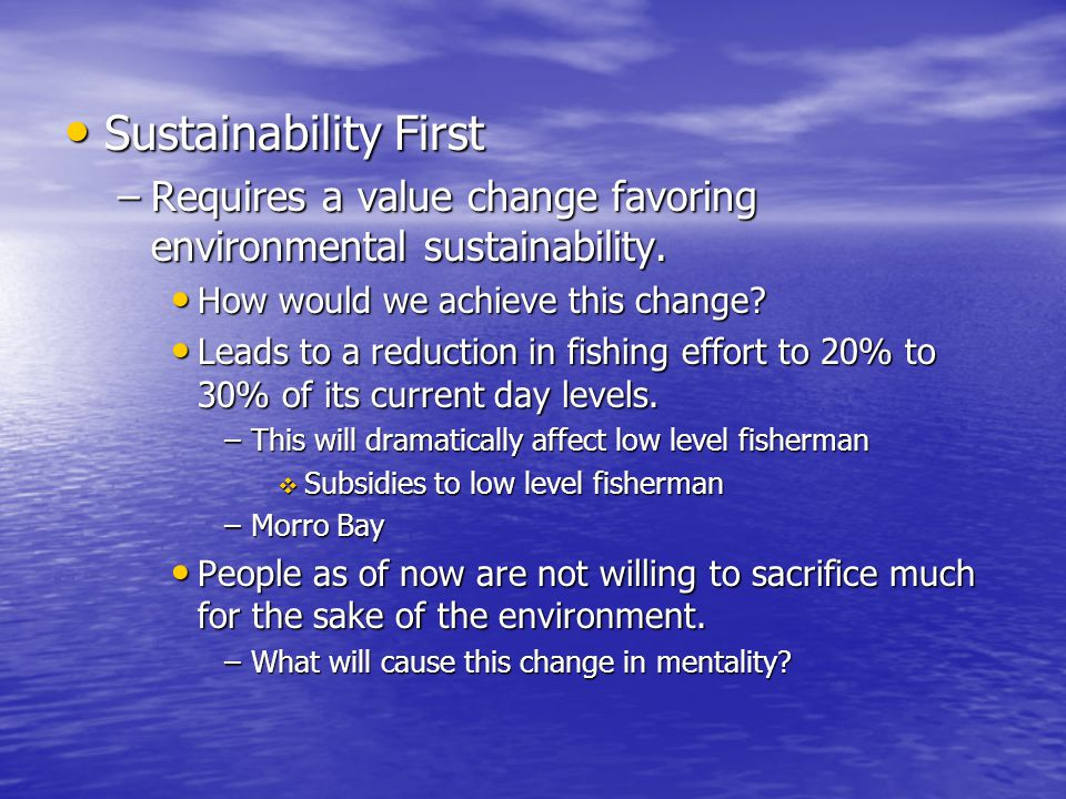 Sustainability First Sustainability First –Requires a value change favoring environmental sustainability.