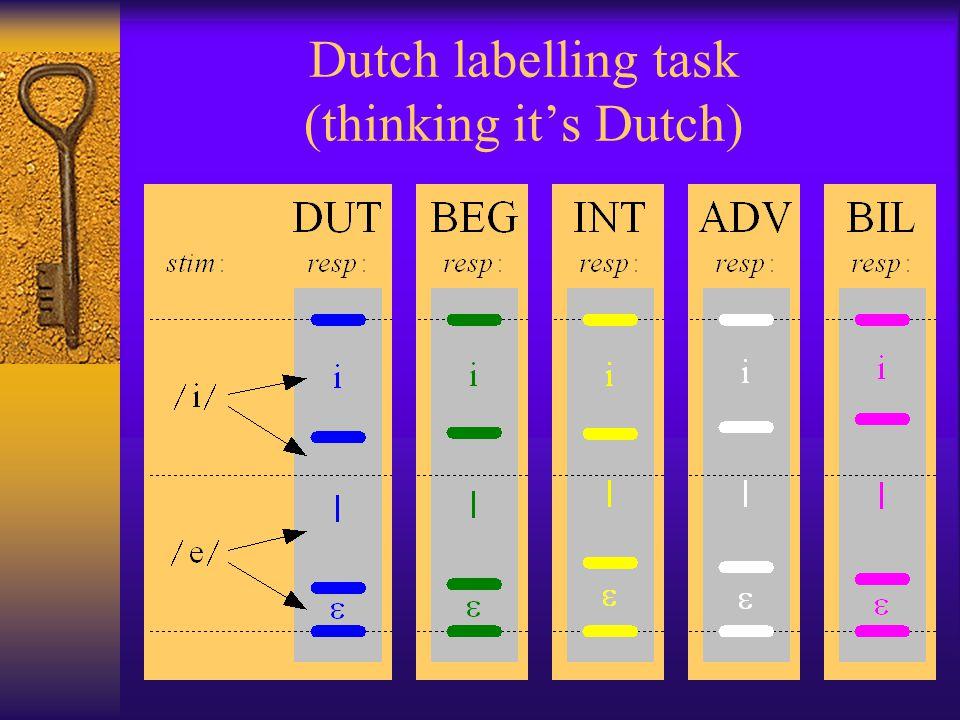 Dutch labelling task (thinking it's Dutch)