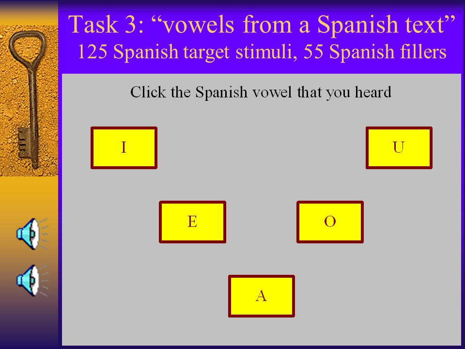 Task 3: vowels from a Spanish text 125 Spanish target stimuli, 55 Spanish fillers