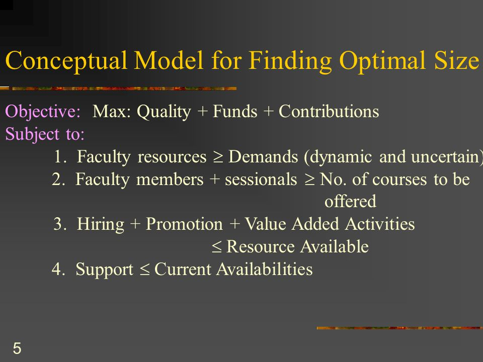 5 Conceptual Model for Finding Optimal Size Objective: Max: Quality + Funds + Contributions Subject to: 1.