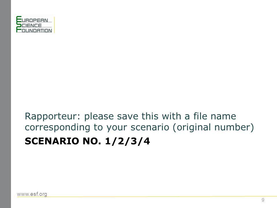 www.esf.org SCENARIO NO.