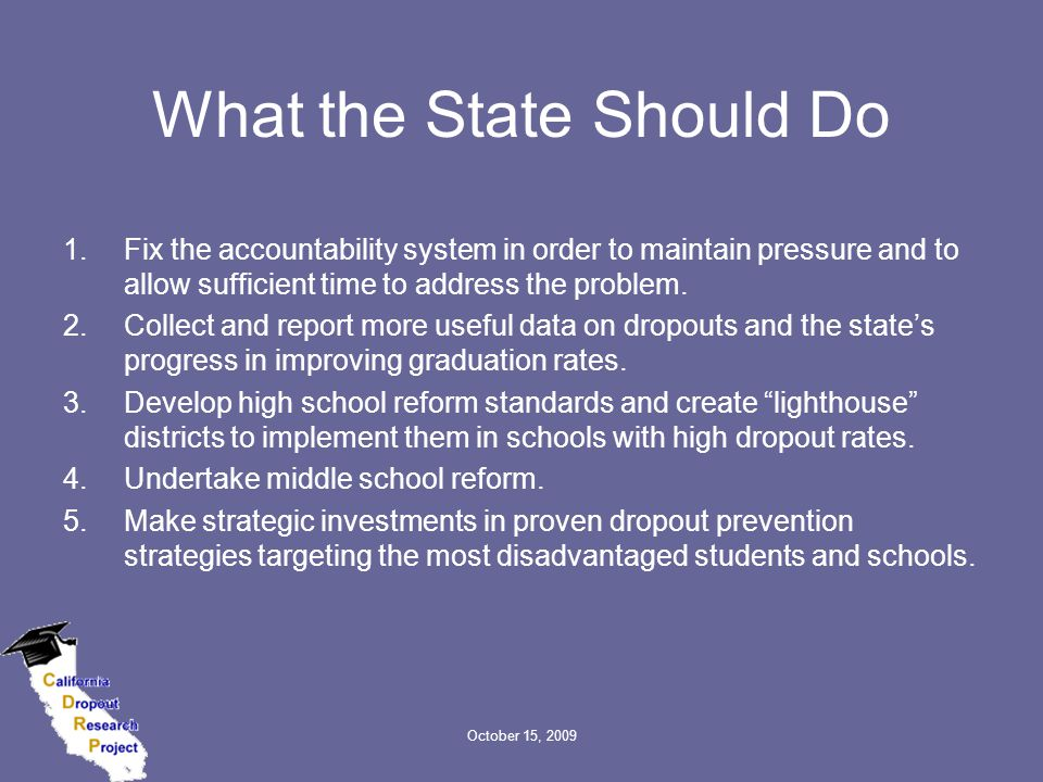 October 15, 2009 What the State Should Do 1.Fix the accountability system in order to maintain pressure and to allow sufficient time to address the pr