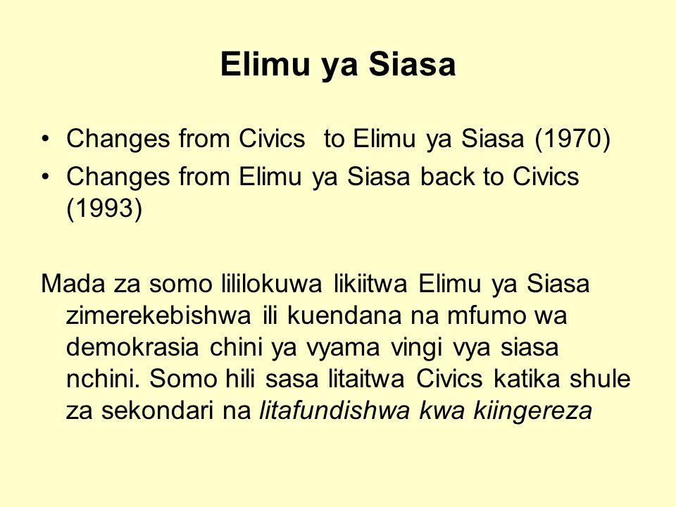 Elimu ya Siasa Changes from Civics to Elimu ya Siasa (1970) Changes from Elimu ya Siasa back to Civics (1993) Mada za somo lililokuwa likiitwa Elimu ya Siasa zimerekebishwa ili kuendana na mfumo wa demokrasia chini ya vyama vingi vya siasa nchini.