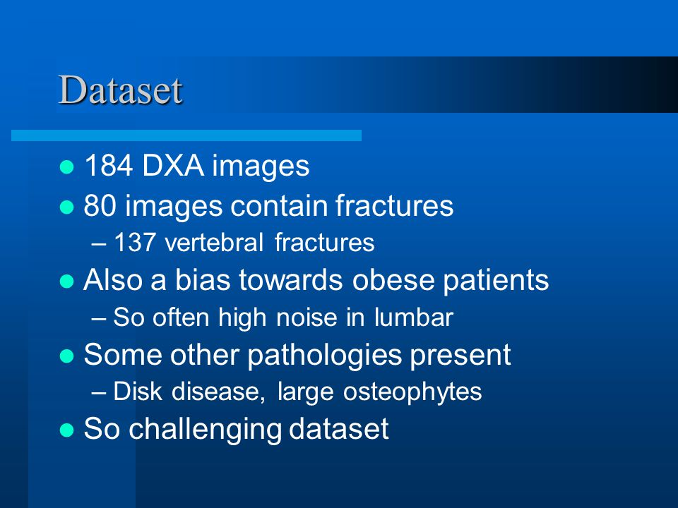 Dataset 184 DXA images 80 images contain fractures –137 vertebral fractures Also a bias towards obese patients –So often high noise in lumbar Some other pathologies present –Disk disease, large osteophytes So challenging dataset