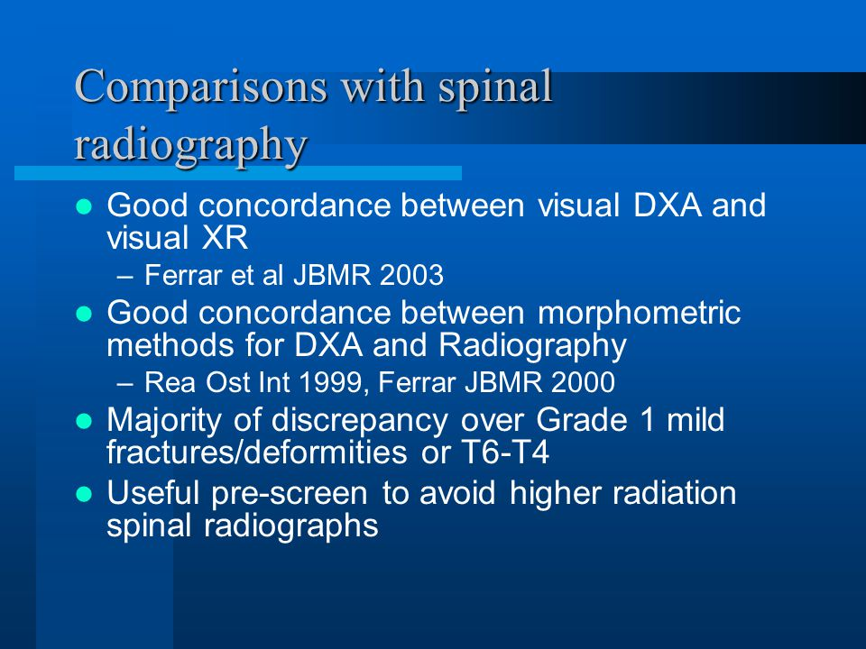 Comparisons with spinal radiography Good concordance between visual DXA and visual XR –Ferrar et al JBMR 2003 Good concordance between morphometric methods for DXA and Radiography –Rea Ost Int 1999, Ferrar JBMR 2000 Majority of discrepancy over Grade 1 mild fractures/deformities or T6-T4 Useful pre-screen to avoid higher radiation spinal radiographs
