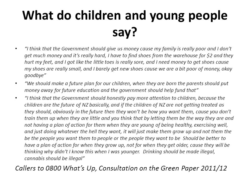 What do children and young people say.