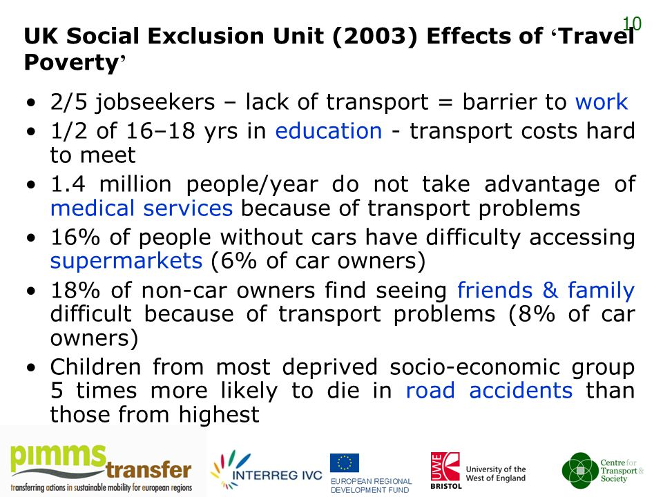 10 UK Social Exclusion Unit (2003) Effects of ' Travel Poverty ' 2/5 jobseekers – lack of transport = barrier to work 1/2 of 16–18 yrs in education - transport costs hard to meet 1.4 million people/year do not take advantage of medical services because of transport problems 16% of people without cars have difficulty accessing supermarkets (6% of car owners) 18% of non-car owners find seeing friends & family difficult because of transport problems (8% of car owners) Children from most deprived socio-economic group 5 times more likely to die in road accidents than those from highest