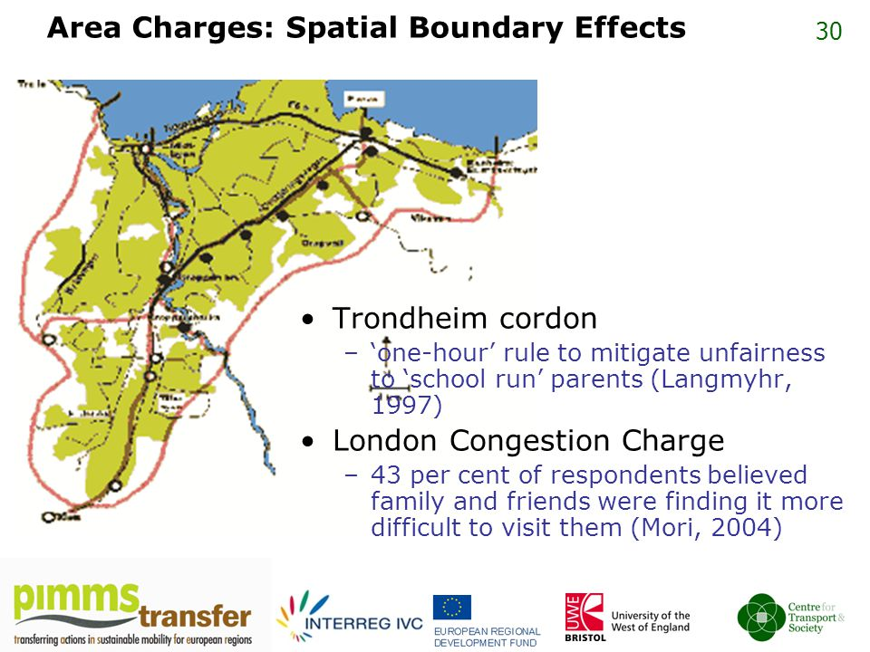 30 Area Charges: Spatial Boundary Effects Trondheim cordon –'one-hour' rule to mitigate unfairness to 'school run' parents (Langmyhr, 1997) London Congestion Charge –43 per cent of respondents believed family and friends were finding it more difficult to visit them (Mori, 2004)