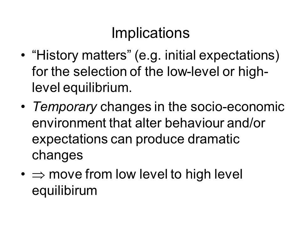 Implications History matters (e.g.