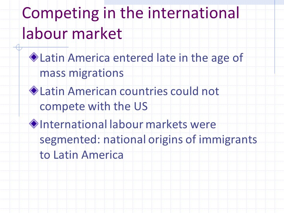 Competing in the international labour market Latin America entered late in the age of mass migrations Latin American countries could not compete with the US International labour markets were segmented: national origins of immigrants to Latin America