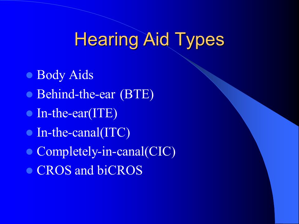 Hearing Aid Types Body Aids Behind-the-ear (BTE) In-the-ear(ITE) In-the-canal(ITC) Completely-in-canal(CIC) CROS and biCROS