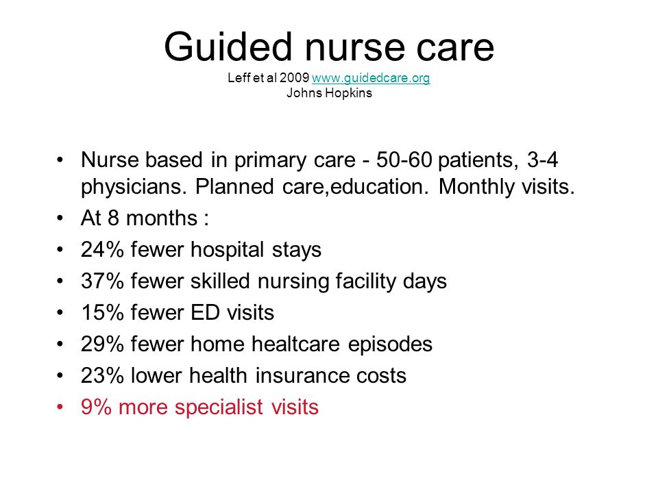Guided nurse care Leff et al 2009 www.guidedcare.org Johns Hopkinswww.guidedcare.org Nurse based in primary care - 50-60 patients, 3-4 physicians. Pla