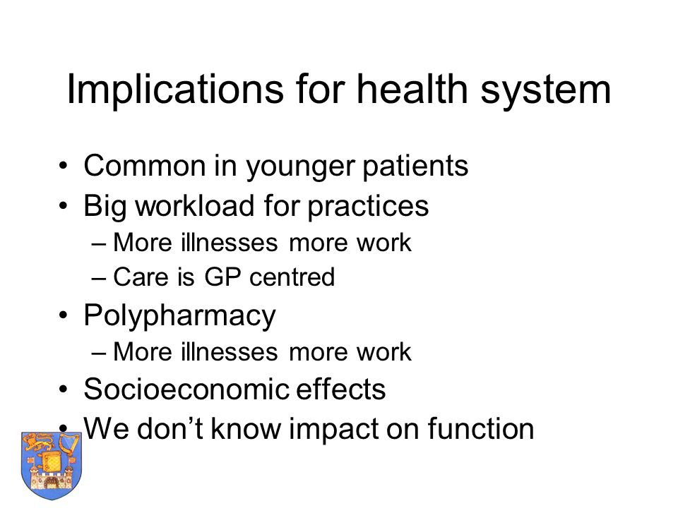 Implications for health system Common in younger patients Big workload for practices –More illnesses more work –Care is GP centred Polypharmacy –More