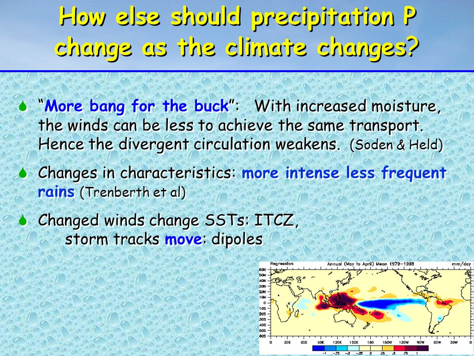 How else should precipitation P change as the climate changes .