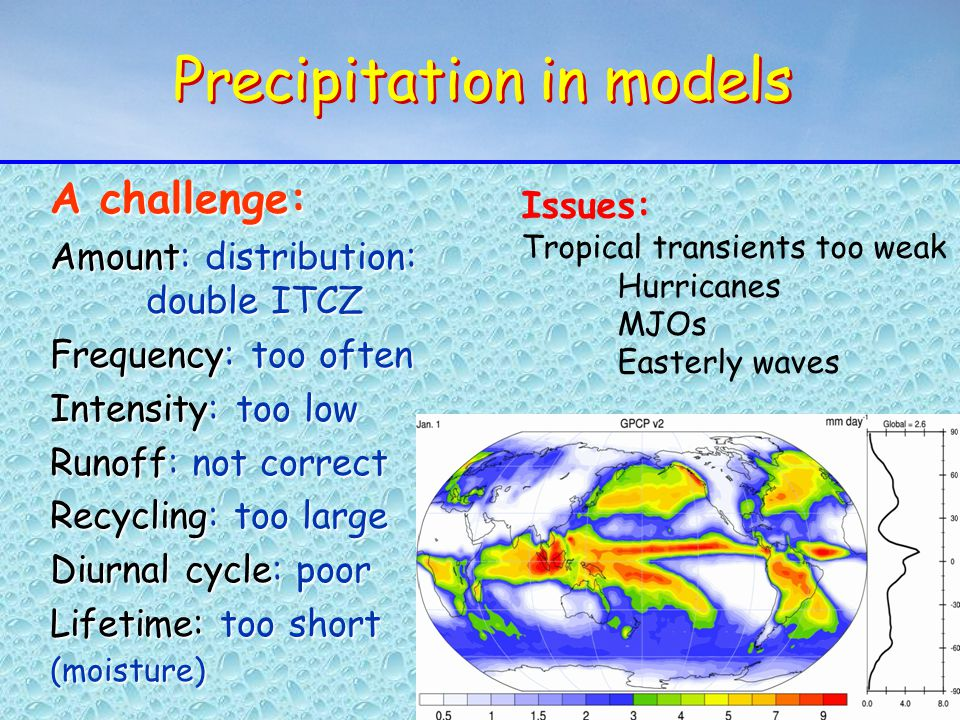 Precipitation in models A challenge: Amount: distribution: double ITCZ Frequency: too often Intensity: too low Runoff: not correct Recycling: too large Diurnal cycle: poor Lifetime: too short (moisture) A challenge: Amount: distribution: double ITCZ Frequency: too often Intensity: too low Runoff: not correct Recycling: too large Diurnal cycle: poor Lifetime: too short (moisture) Issues: Tropical transients too weak Hurricanes MJOs Easterly waves
