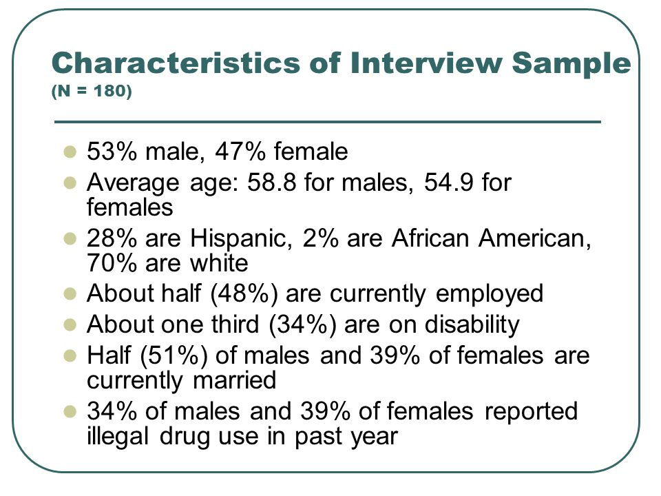 Characteristics of Interview Sample (N = 180) 53% male, 47% female Average age: 58.8 for males, 54.9 for females 28% are Hispanic, 2% are African American, 70% are white About half (48%) are currently employed About one third (34%) are on disability Half (51%) of males and 39% of females are currently married 34% of males and 39% of females reported illegal drug use in past year