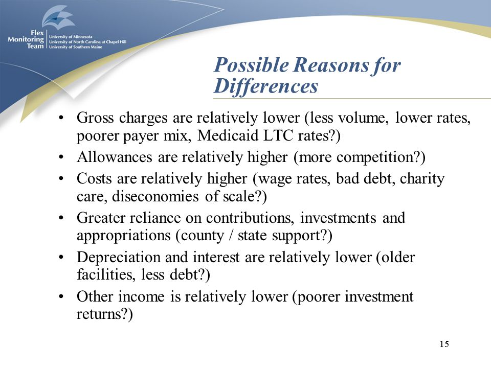 15 Possible Reasons for Differences Gross charges are relatively lower (less volume, lower rates, poorer payer mix, Medicaid LTC rates?) Allowances are relatively higher (more competition?) Costs are relatively higher (wage rates, bad debt, charity care, diseconomies of scale?) Greater reliance on contributions, investments and appropriations (county / state support?) Depreciation and interest are relatively lower (older facilities, less debt?) Other income is relatively lower (poorer investment returns?)