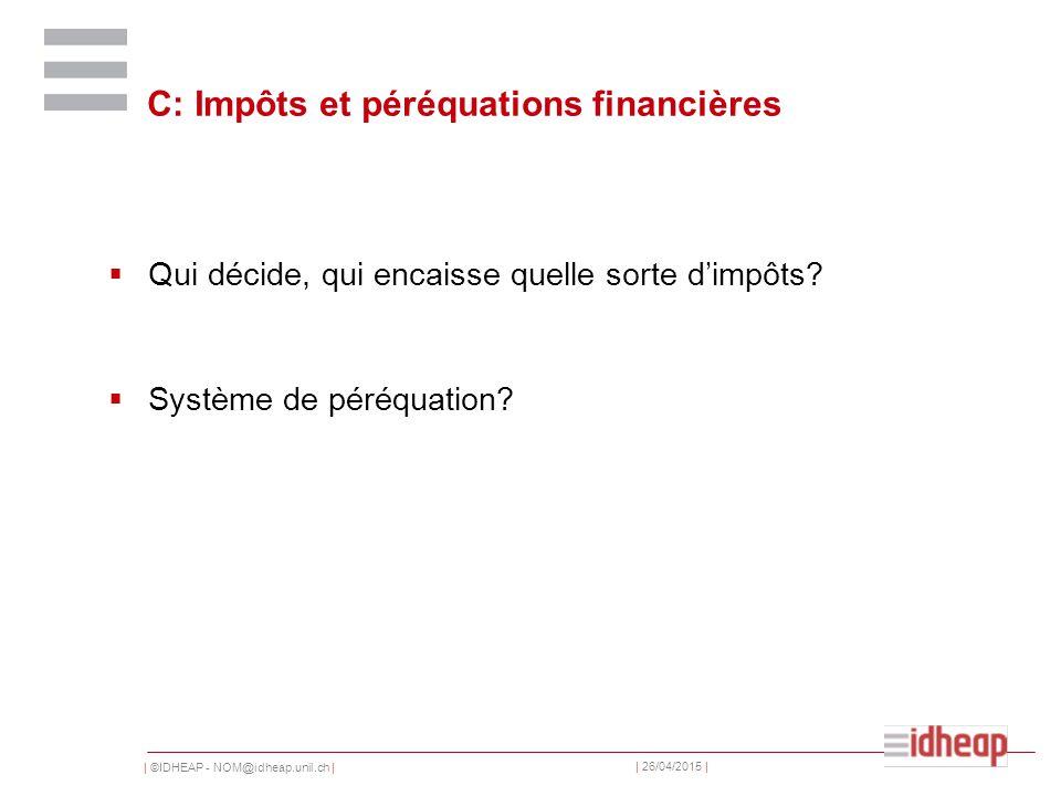 | ©IDHEAP - NOM@idheap.unil.ch | | 26/04/2015 | C: Impôts et péréquations financières  Qui décide, qui encaisse quelle sorte d'impôts.