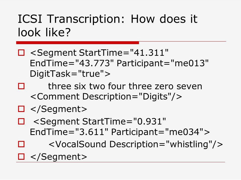 ICSI Transcription: How does it look like   three six two four three zero seven 