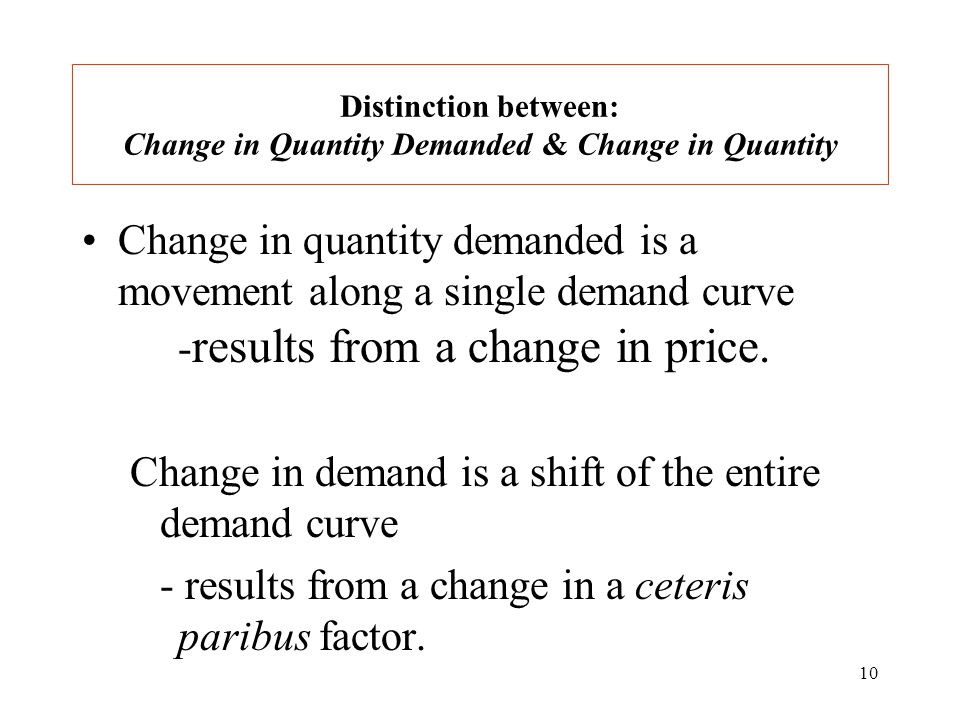 10 Distinction between: Change in Quantity Demanded & Change in Quantity Change in quantity demanded is a movement along a single demand curve - results from a change in price.