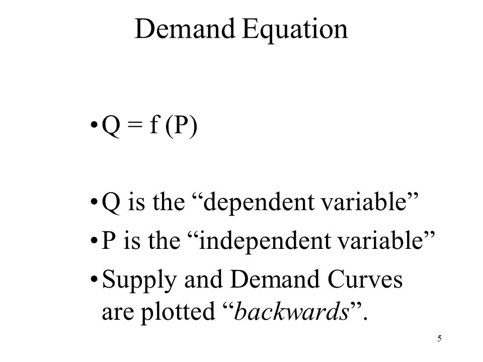 5 Demand Equation Q = f (P) Q is the dependent variable P is the independent variable Supply and Demand Curves are plotted backwards .