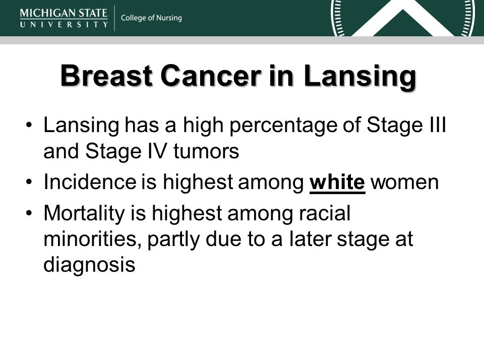 Lansing has a high percentage of Stage III and Stage IV tumors Incidence is highest among white women Mortality is highest among racial minorities, partly due to a later stage at diagnosis Breast Cancer in Lansing