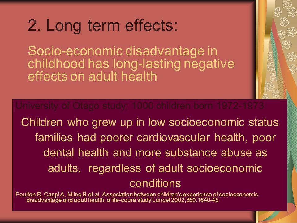 2. Long term effects: Socio-economic disadvantage in childhood has long-lasting negative effects on adult health University of Otago study; 1000 child