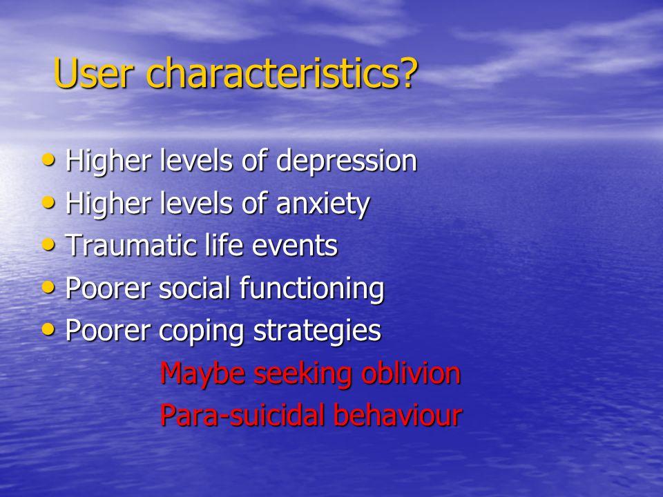 User characteristics. User characteristics.