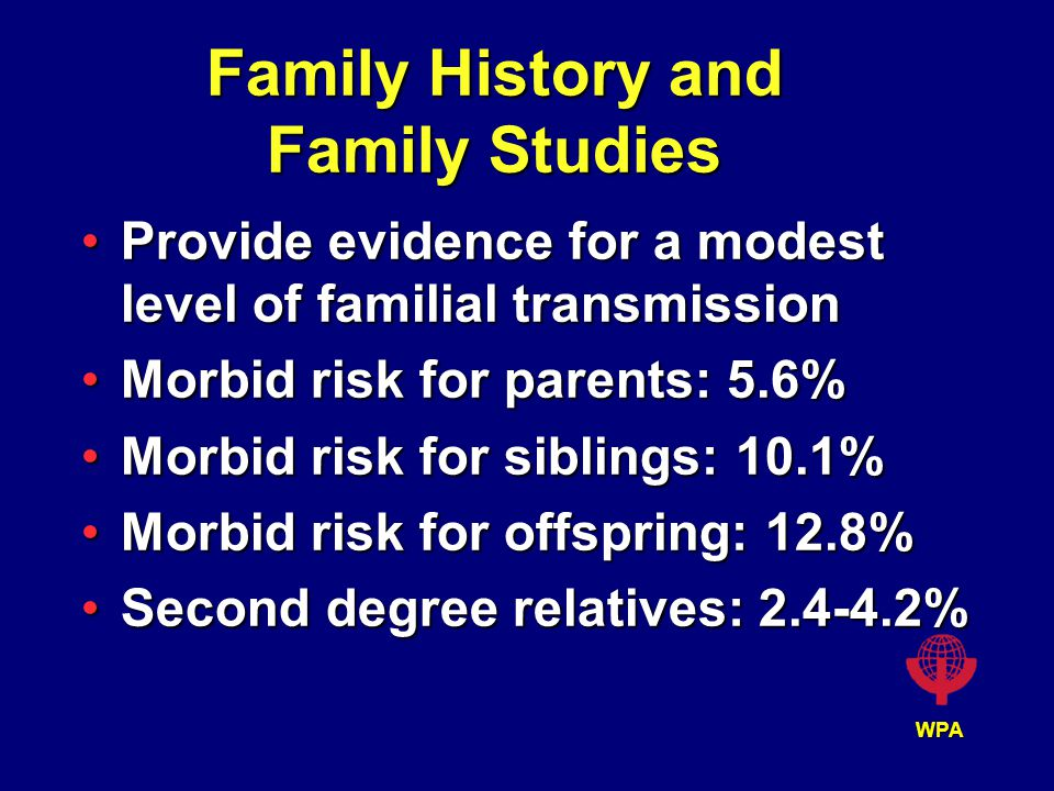 WPA Family History and Family Studies Provide evidence for a modest level of familial transmissionProvide evidence for a modest level of familial transmission Morbid risk for parents: 5.6%Morbid risk for parents: 5.6% Morbid risk for siblings: 10.1%Morbid risk for siblings: 10.1% Morbid risk for offspring: 12.8%Morbid risk for offspring: 12.8% Second degree relatives: 2.4-4.2%Second degree relatives: 2.4-4.2%