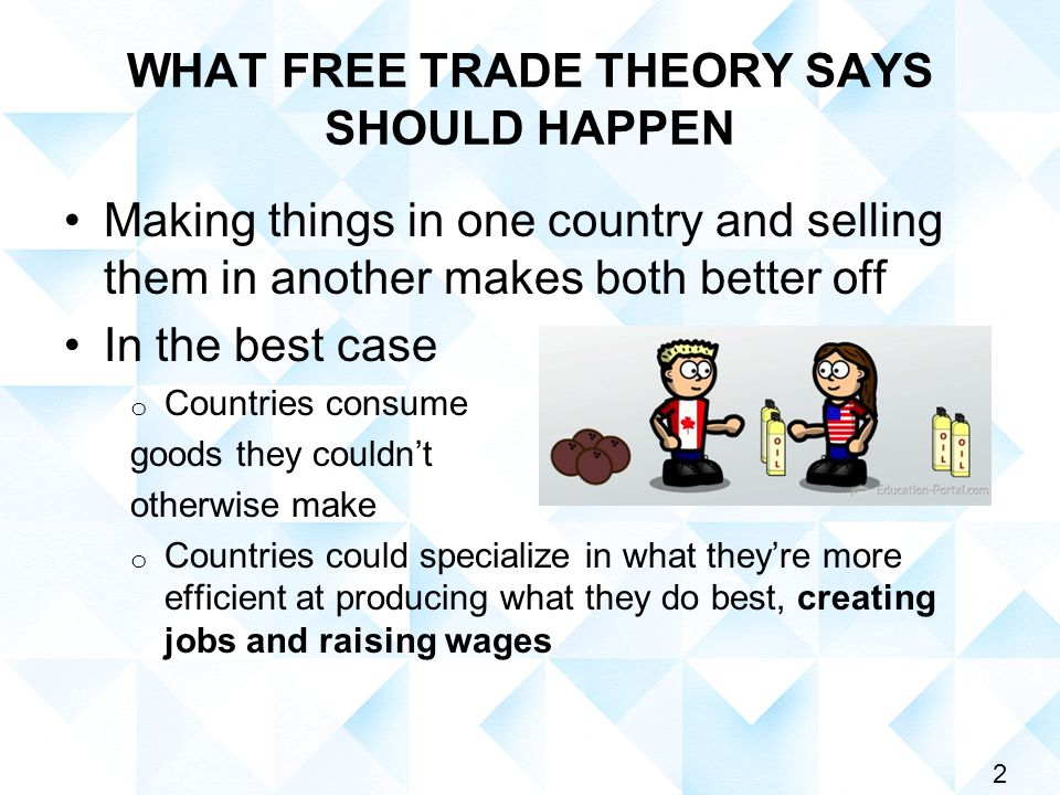 2 WHAT FREE TRADE THEORY SAYS SHOULD HAPPEN Making things in one country and selling them in another makes both better off In the best case o Countries consume goods they couldn't otherwise make o Countries could specialize in what they're more efficient at producing what they do best, creating jobs and raising wages