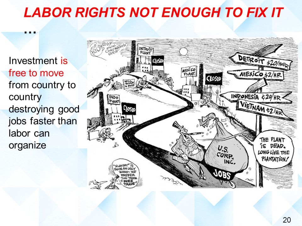 20 LABOR RIGHTS NOT ENOUGH TO FIX IT … Investment is free to move from country to country destroying good jobs faster than labor can organize