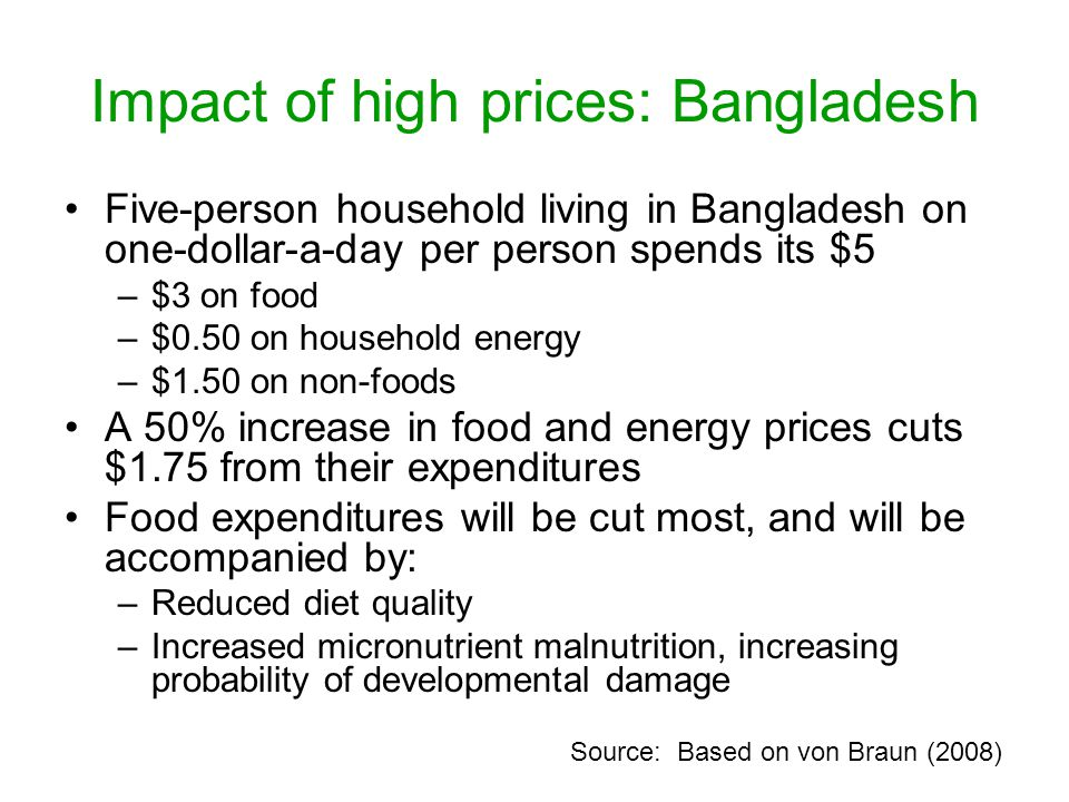 Impact of high prices: Bangladesh Five-person household living in Bangladesh on one-dollar-a-day per person spends its $5 –$3 on food –$0.50 on household energy –$1.50 on non-foods A 50% increase in food and energy prices cuts $1.75 from their expenditures Food expenditures will be cut most, and will be accompanied by: –Reduced diet quality –Increased micronutrient malnutrition, increasing probability of developmental damage Source: Based on von Braun (2008)