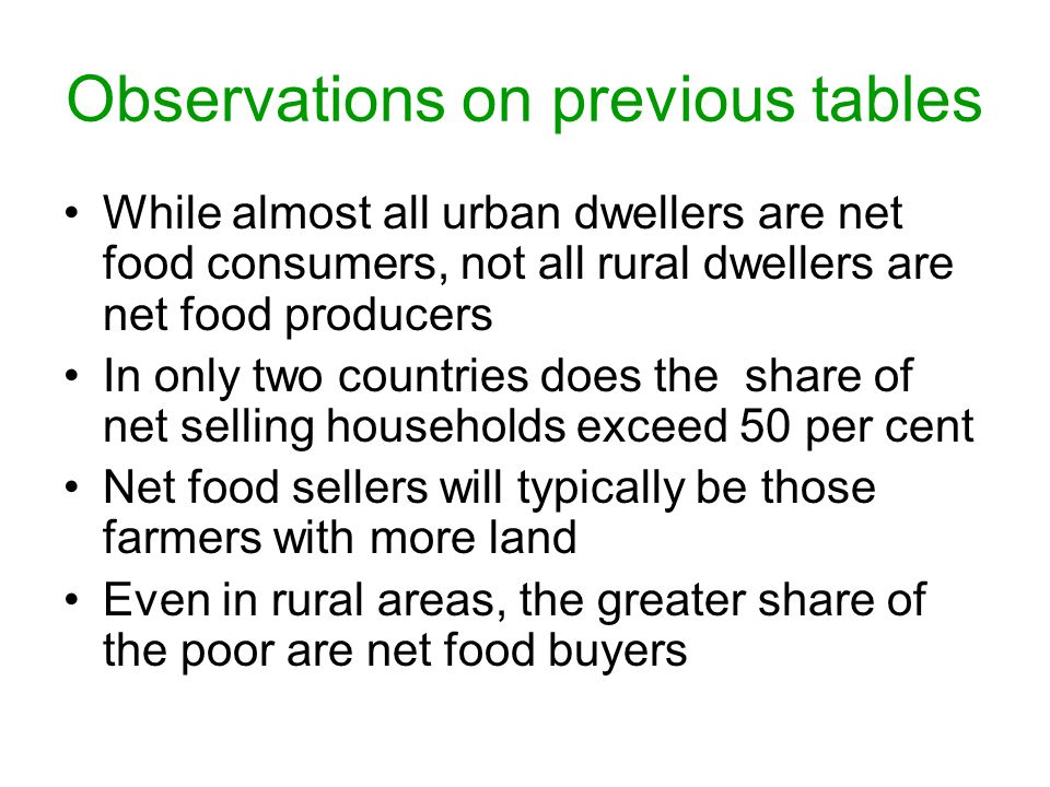 Observations on previous tables While almost all urban dwellers are net food consumers, not all rural dwellers are net food producers In only two countries does the share of net selling households exceed 50 per cent Net food sellers will typically be those farmers with more land Even in rural areas, the greater share of the poor are net food buyers