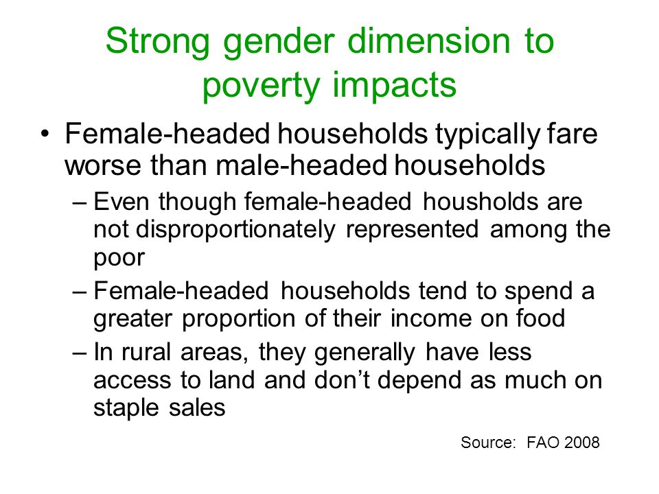 Strong gender dimension to poverty impacts Female-headed households typically fare worse than male-headed households –Even though female-headed housholds are not disproportionately represented among the poor –Female-headed households tend to spend a greater proportion of their income on food –In rural areas, they generally have less access to land and don't depend as much on staple sales Source: FAO 2008