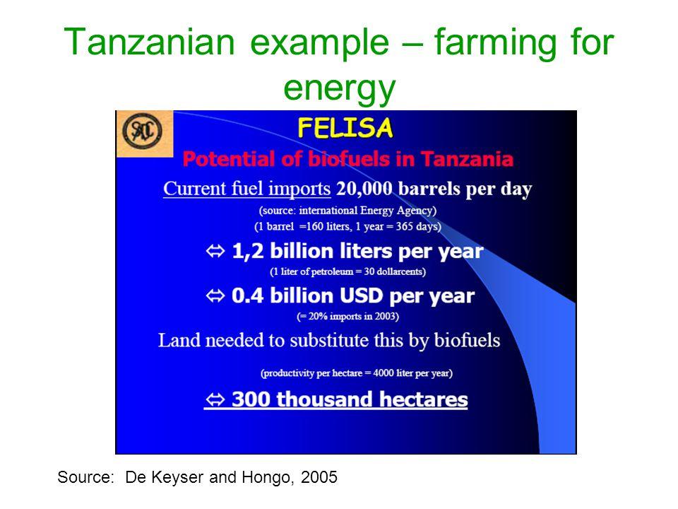 Tanzanian example – farming for energy Source: De Keyser and Hongo, 2005